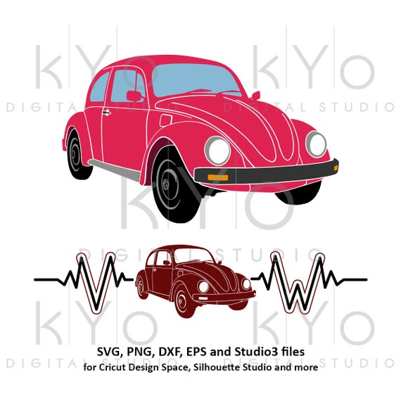 Volkswagen VW Beetle Silhouette Heart beats SVG png AI eps vector files