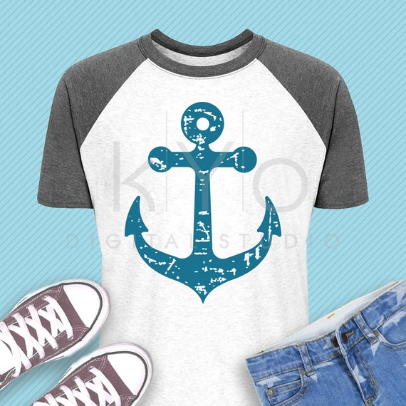 Distressed Anchor svg Nautical svg Navy svg Distressed svg Summer kids shirt svg dxf png eps files for Cricut and Silhouette cut files