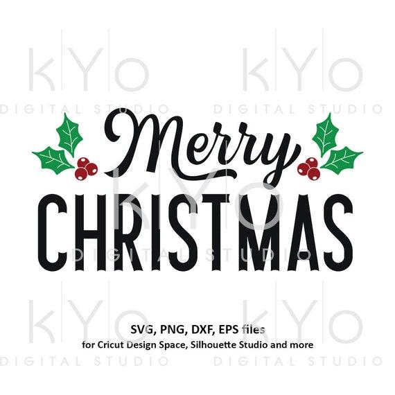 Merry Christmas svg Christmas card design svg Christmas holly svg files for Cricut Silhouette Christmas dxf files