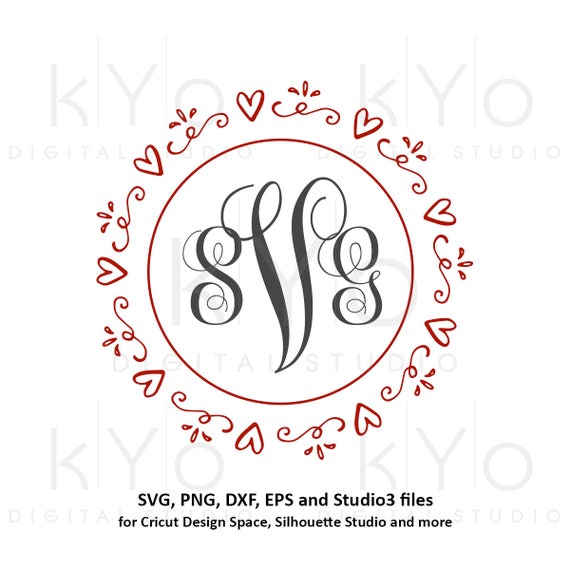 Heart wreath SVG Valentines Day SVG files Hand drawn heart frame svg Love svg Wedding monogram frame svg cut files for Cricut and Silhouette