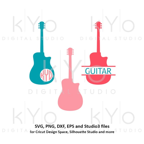 Guitar monogram svg Guitar svg Split Guitar svg Guitar love svg Music svg Music instrument svg files for Cricut Silhouette music clipart