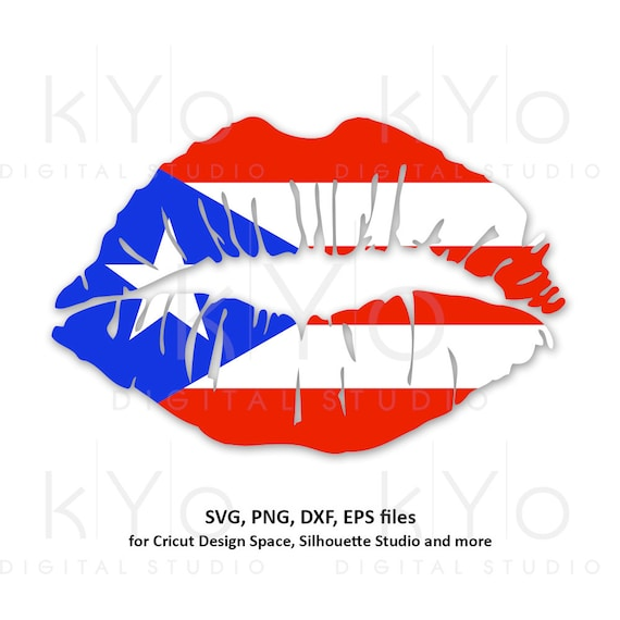 Puerto Rico Girl Lips svg Caribbean Country Flag Clipart Vector Cut Cutting files for Cricut Silhouette