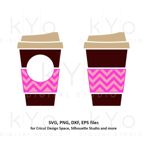 Coffee cup svg Travel mug take out cup Chevron coffee mug Paper cup svg Coffee monogram svg dxf png clipart files for Cricut Silhouette