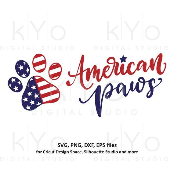 American flag svg Paw print svg 4th of July svg USA Flag svg shirt design svg Stars and stripes svg png dxf files for Cricut Silhouette