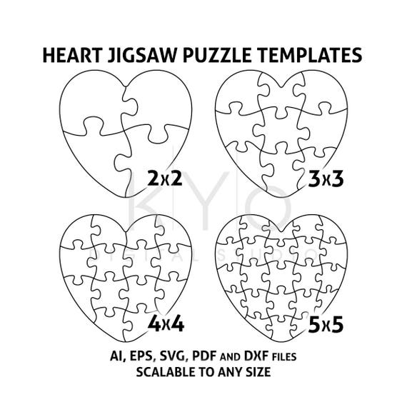 Heart Jigsaw Puzzle Templates AI EPS SVG pdf dxf files, Heart Shape Puzzle Template svg, Scalable puzzle template, printable puzzle template