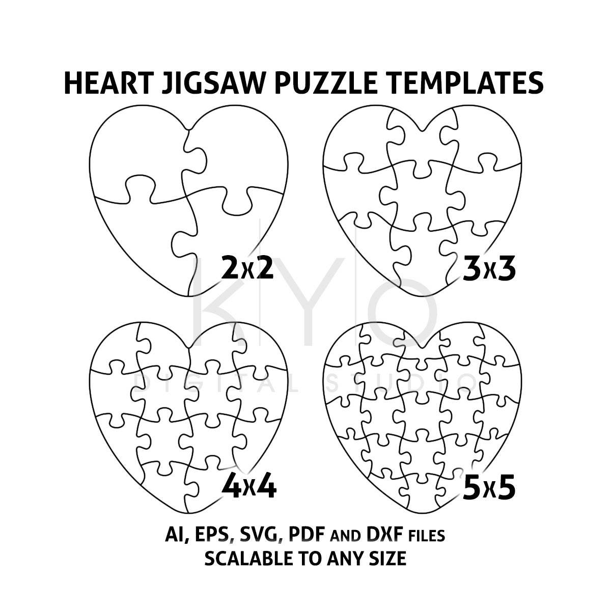 Heart Jigsaw Puzzle Templates AI EPS SVG pdf dxf files Heart | Etsy