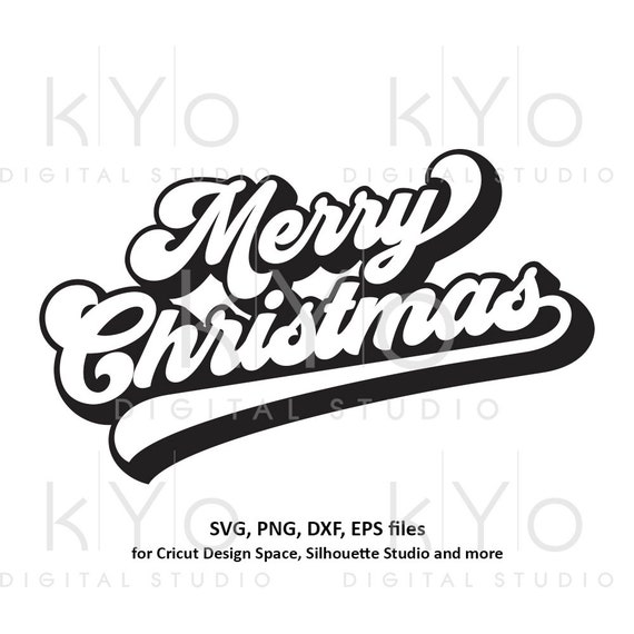Merry Christmas banner svg Brush lettering Christmas party svg Merry Christmas card svg files for Cricut and Silhouette dxf files