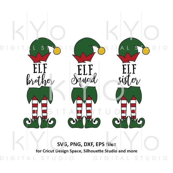 Christmas Elf sister brother and squad svg files bundle