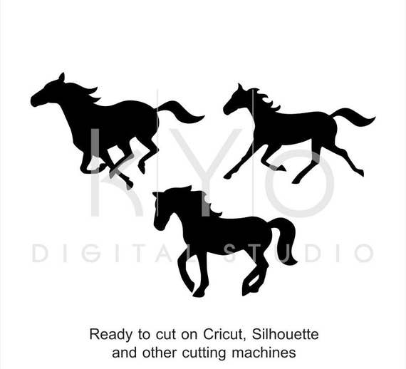 Horse Silhouette SVG cut files Horse Clipart Running horse Mustang Equestrian cuttable svg dxf png eps files for Cricut and Silhouette