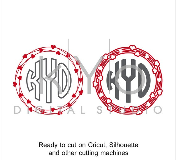 Heart Wreath Monogram Frame Valentines Day SVG cut files for Cricut Silhouette