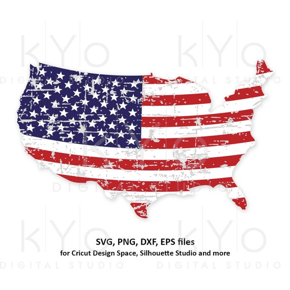 Distressed USA map svg 4th of July svg American Flag shirt svg Distressed svg Stars and stripes svg png dxf files for Cricut Silhouette dxf