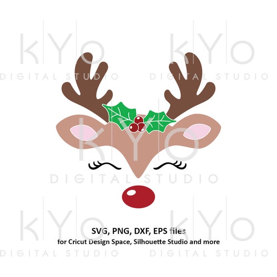Reindeer face with Holly svg Girl reindeer svg Eyelashes svg Cute Christmas reindeer svg files for Cricut Silhouette Christmas dxf files