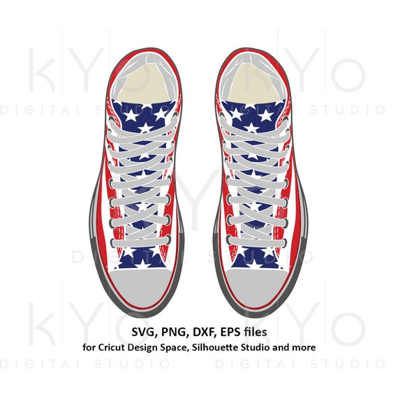 American flag sneakers svg US flag svg American flag svg Trainers svg Chuck svg png dxf eps svg files for Cricut Silhouette cut files