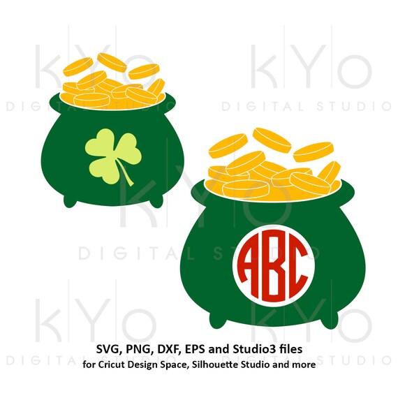 St Patricks Day Pot of gold svg, Lucky svg, Irish svg, pot of gold monogram svg png dxf svg files for Cricut and Silhouette saint patricks