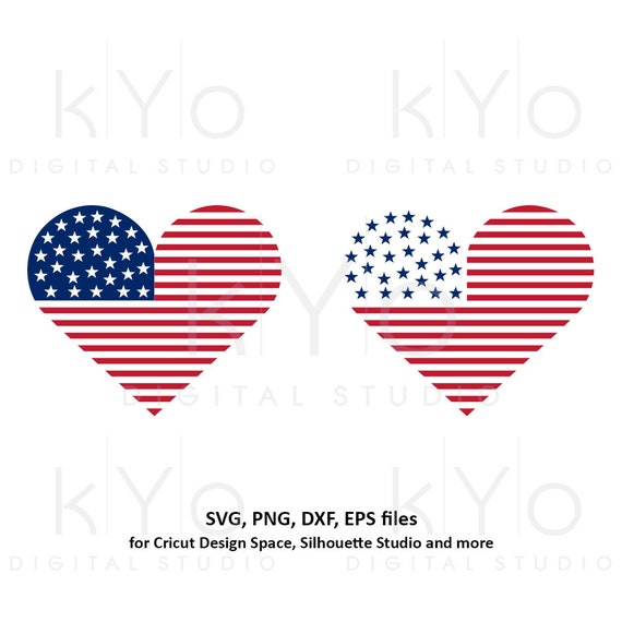 4th of July Heart svg American US flag svg American heart SVG Stars and stripes svg Fourth of july svg files for Cricut Silhouette