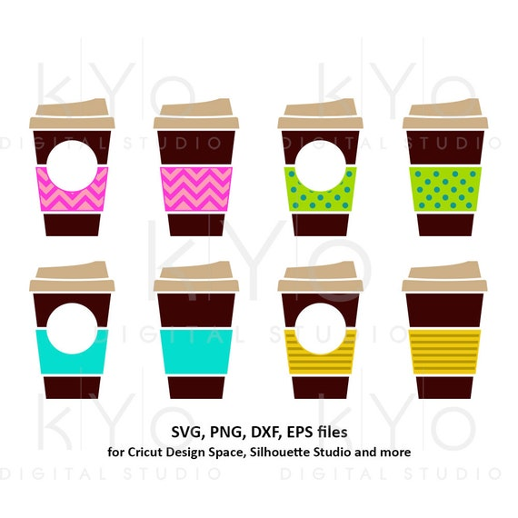 Coffee cups svg Take out cup svg Travel mug svg Chevron Polka dot Coffee Paper cup monogram svg dxf png clipart files for Cricut Silhouette