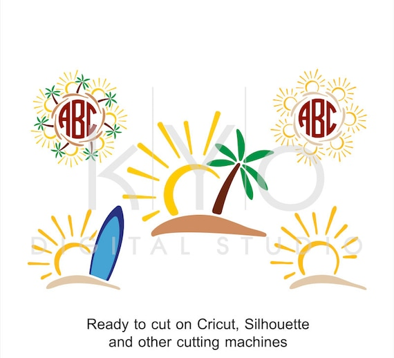 Sun Tropic Island Surfing Palm Tree svg dxf png eps Studio3 Summer Monogram files for Cricut Explore and Silhouette Cameo