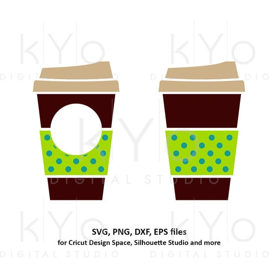Coffee cup svg Travel mug take out cup Polka Dot coffee mug Paper cup svg Coffee monogram svg dxf png clipart files for Cricut Silhouette