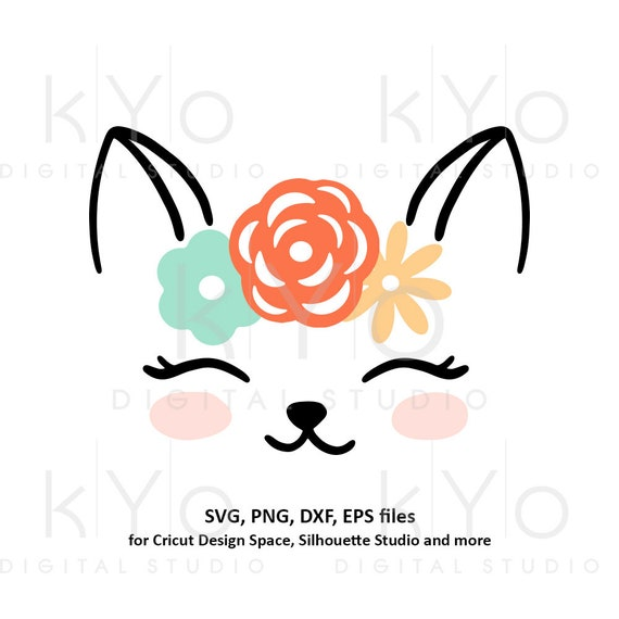 Cute Cat face with flower wreath svg png dxf files Cat svg Eye lashes svg Cat face svg Kids summer shirt svg files for Cricut Silhouette