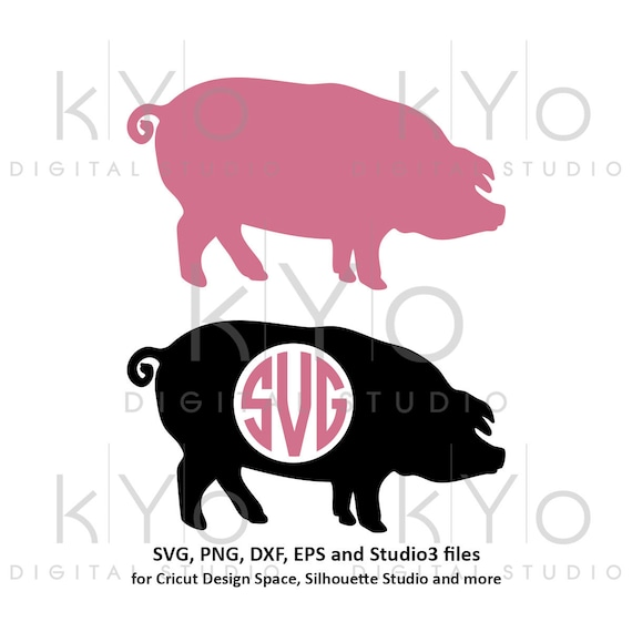 Pig SVG Pig Monogram SVG PNG dxf Studio3 cut files Farm animal svg Pork svg Farm life svg Pig Silhouette svg Farm monogram svg Farmer svg