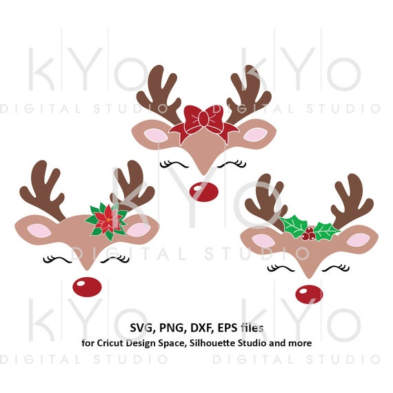Reindeer face svg Christmas reindeer svg Eyelashes svg Cute reindeer svg Bow svg Holly svg files for Cricut Silhouette Christmas dxf files