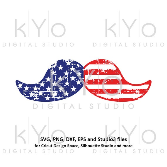 Distressed American Mustache svg 4th Fourth of July US Flag pattern Stars and Stripes svg png dxf files for Cricut Silhouette Independence