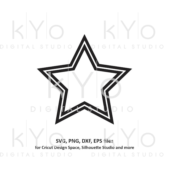 Star Shape Double Outline Svg File Basic Shape Svg Files For Etsy
