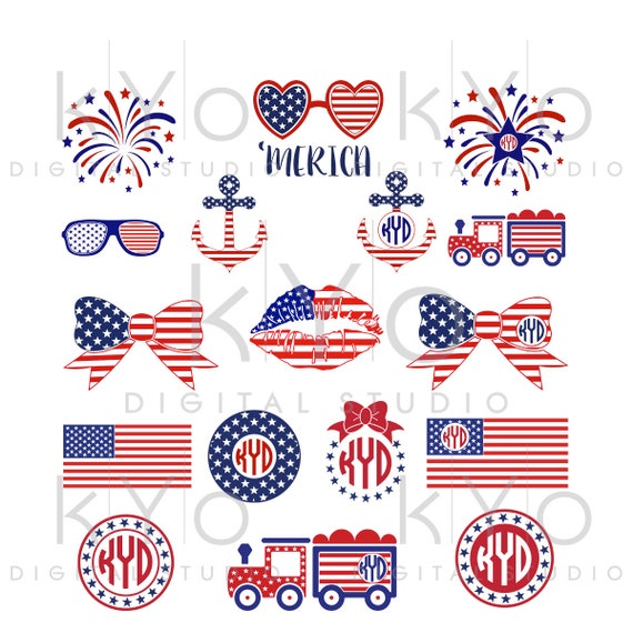 4th of July SVG Bundle American Flag pattern Bow Anchor Glasses Fireworks Merica Star svg Independence Day SVG files for Cricut Silhouette