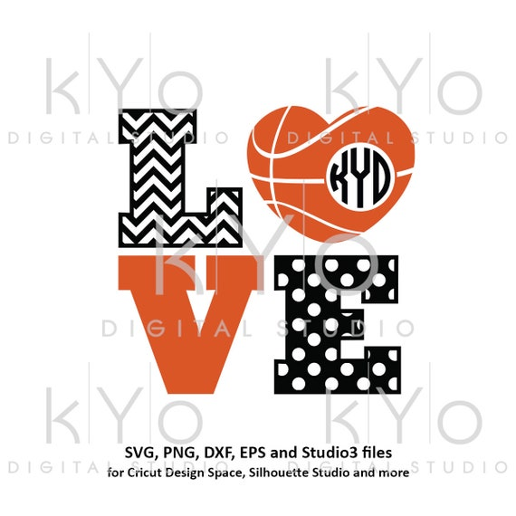 Love Basketball svg Basketball Heart Monogram svg Chevron Polka dot svg Basketball Love svg Heart ball svg iron on svg commercial use svg