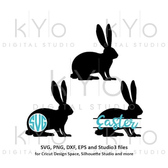 Easter Bunny Rabbit Monogram svg Easter bunny ears SVG Easter monogram split SVG files for Cricut Explore Silhouette Cameo