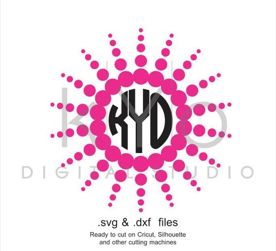 Sun Circle Monogram frame SVG cutting file, Sun SVG files, Summer svg files, svg files for Cricut and Silhouette, Cameo files, digital files