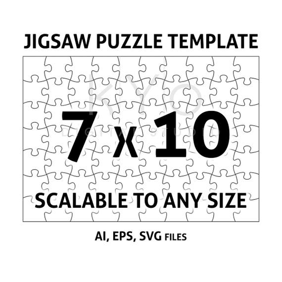 Jigsaw Puzzle Template Ai Eps Svg Dxf Files Jigsaw Puzzle Etsy