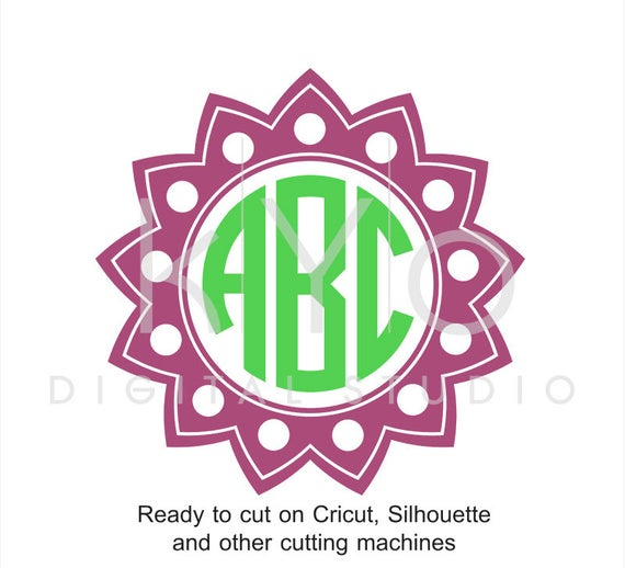 Circle Monogram Frame Sun SVG files for Cricut Explore Silhouette Cameo