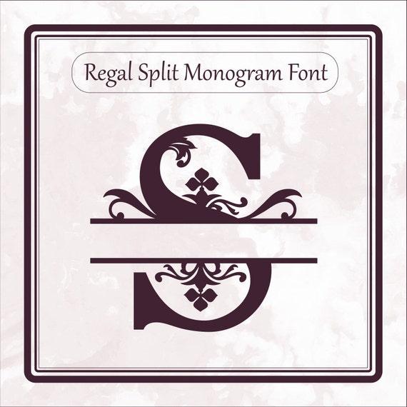 Regal Split Monogram font svg alphabet letters dxf eps png file format, split letters, cricut design space, silhouette, sure cuts a lot
