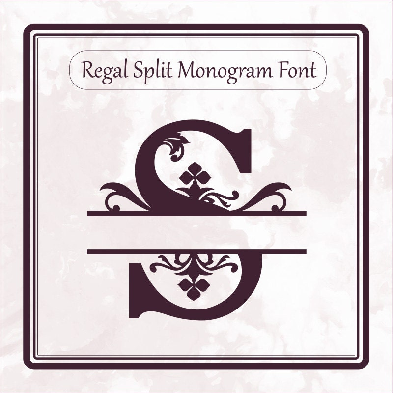 Regal Split Monogram Font Svg Alphabet Letters Dxf Eps Png Etsy