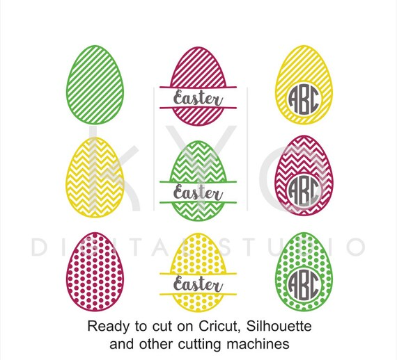 Easter SVG Egg Patterned Circle Split Monogram svg dxf png eps cut files for Cricut Explore and Silhouette Cameo