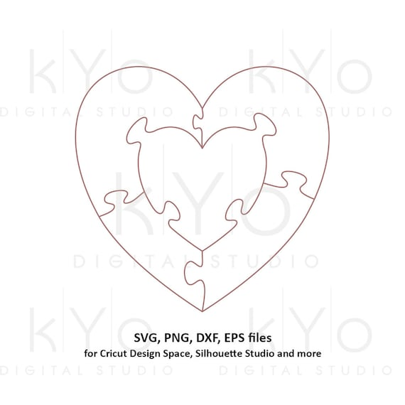 Heart in heart Jigsaw Puzzle Templates AI EPS dxf SVG png files, Heart Shape Puzzle Template svg, 5 pieces printable puzzle template