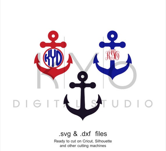 Anchor Svg Cutting File Anchor Monogram Svg Nautical Svg Etsy