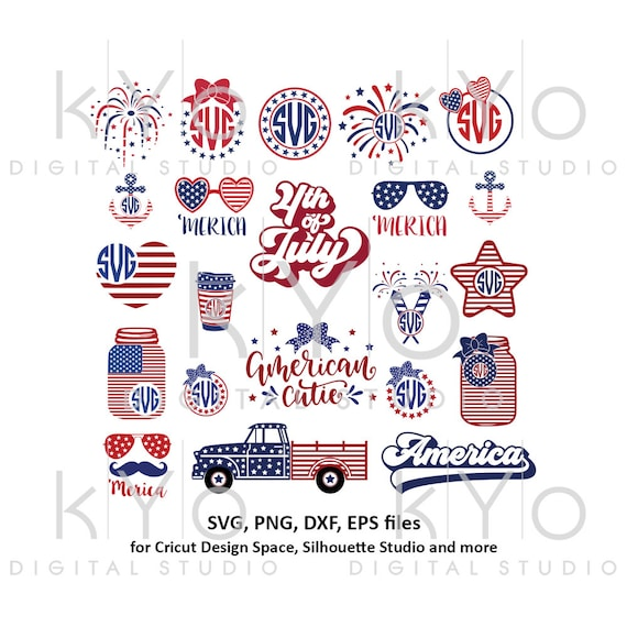 4th of July svg Bundle US American Flag Bow Mason Jar Truck Anchor Glasses Fireworks Merica Star svg png dxf files for Cricut Silhouette