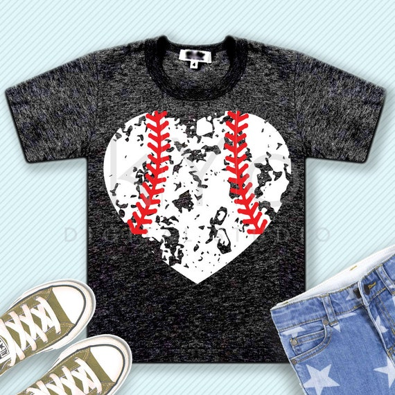 Distressed baseball heart svg distressed heart svg grunge baseball heart svg png iron on design baseball mom svg files for cricut silhouette