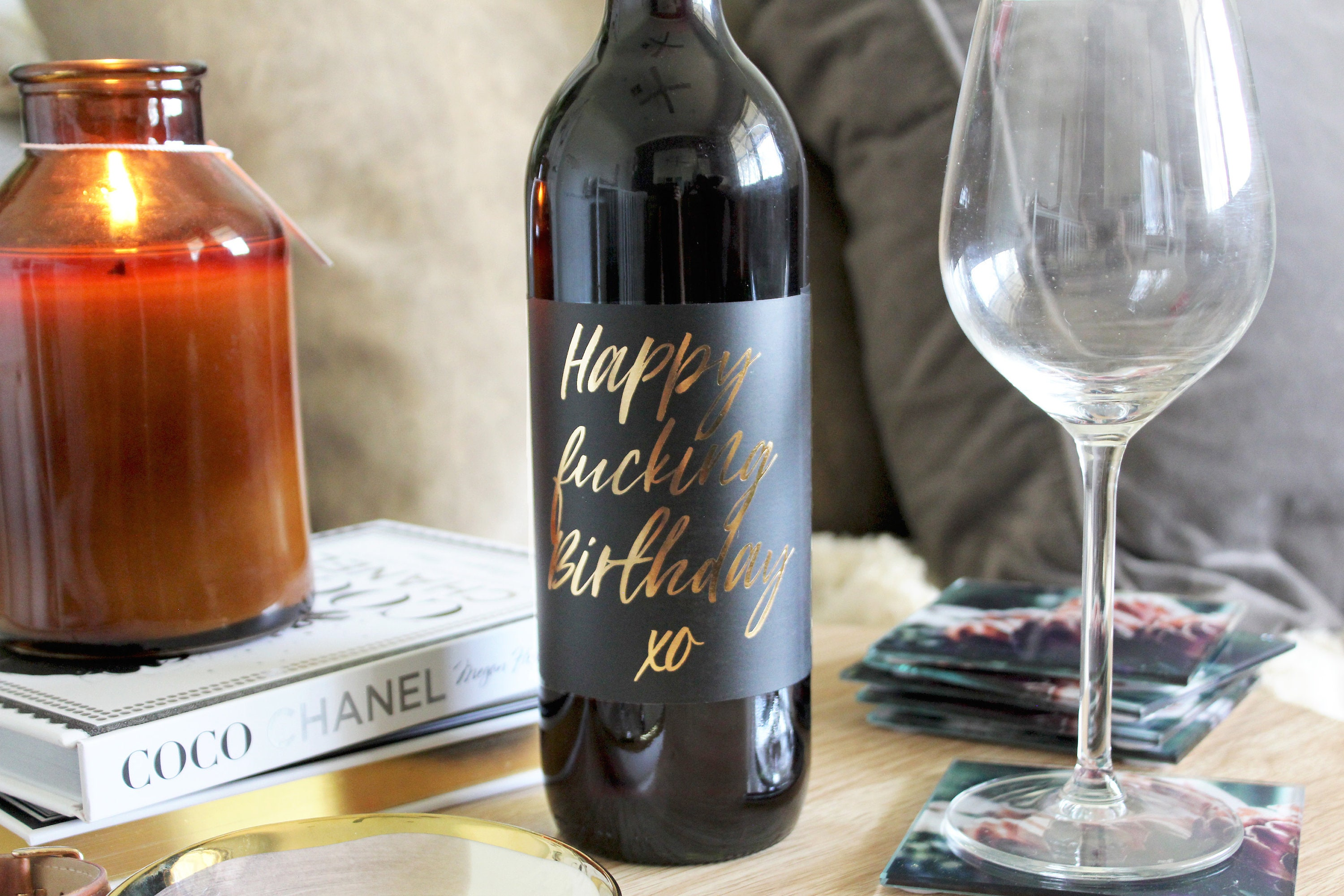 Funny Birthday Wine Label Gift Idea For Her