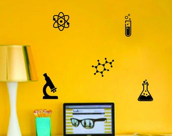 Science things wall decals for classrooms, schools, kids bedroom, chemistry room, etc | Chemistry Class Stickers, Set of 5