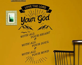 Love the Lord Your God Inspirational Bible Verse Scripture Wall Decal - Matthew 22:37-38