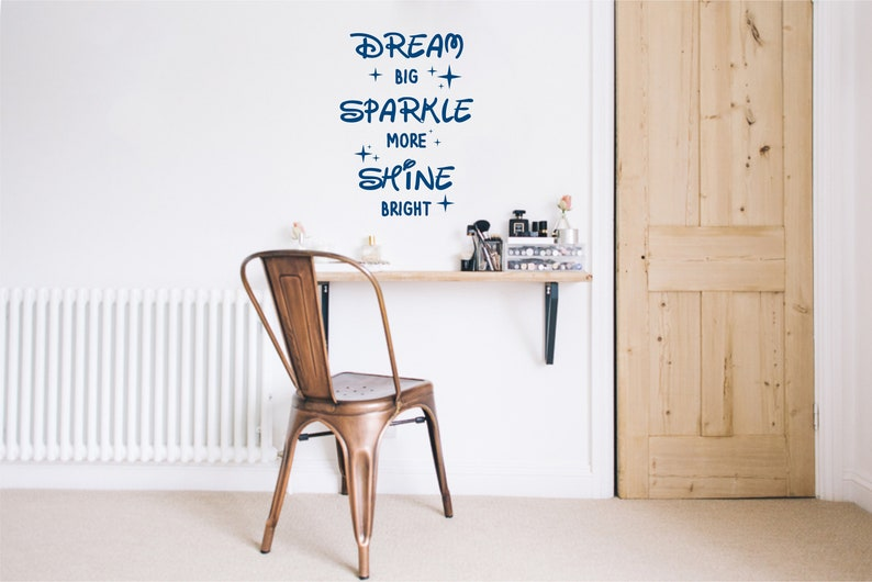Vinyl Word art for walls Dream Big Sparkle More Shine Bright Wall Decal Quote Nursery wall decal with stars Wall sticker for bedroom