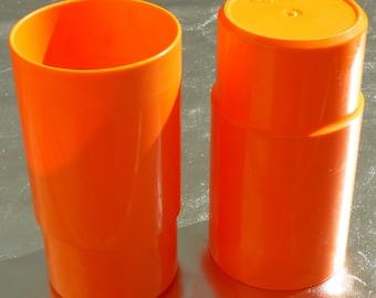2 Orange plastic mugs