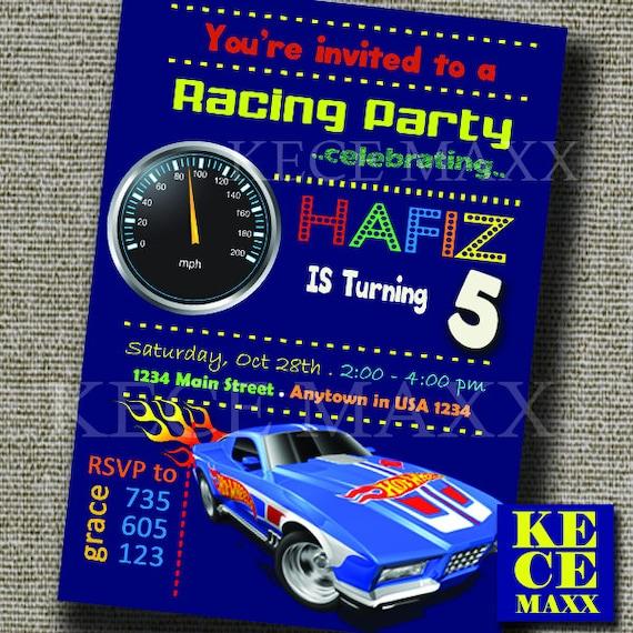 Hotwheels Samochód Formuła Zaproszenie Urodziny Etsy