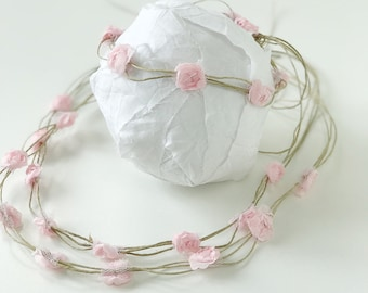 Rustic Flower Crown with Pink Flowers for Girl 0 - 5 T | Baby Girl Crown |  Girl Flower Crown | Girls Photo Prop | Floral Halo