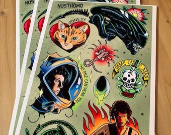 Alien Movie - Tattoo Flash Sheet - Art Print