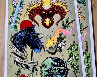 Lord of the Rings - Tattoo Flash Sheet - Art Print