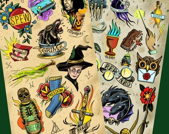 Harry Potter/Hogwarts - Tattoo Flash Sheet - Art Print